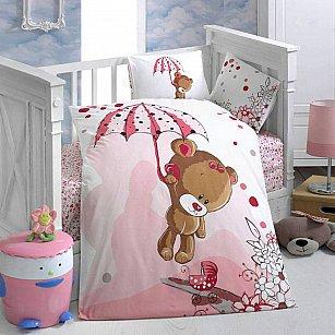 КПБ детский Arya Tonton (Новорожденный), белый с розовым