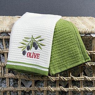 Набор кухонных полотенец Arya Olive A, экрю, зеленый, 40*60 см - 2 шт