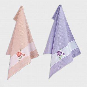 Набор кухонных полотенец с вышивкой Arya Daisy 2, лососевый, сиреневый, 45*65 см - 2 шт