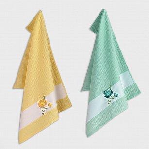 Набор кухонных полотенец с вышивкой Arya Daisy 3, желтый, зеленый, 45*65 см - 2 шт