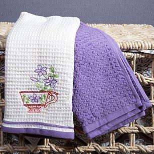 Набор кухонных полотенец Arya Provense 1 (Чашка), экрю, лиловый, 40*60 см - 2 шт