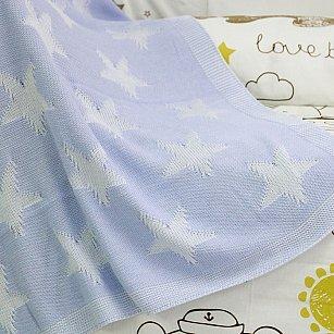 Плед детский вязаный Arya Star, голубой, 90*90 см