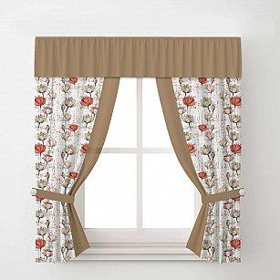 Комплект штор Arya Corn Poppy, кремовый с коричневым, 140*170 см
