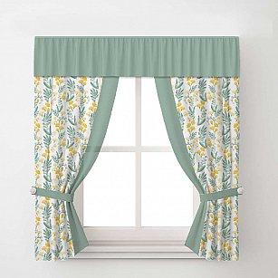 Комплект штор Arya Tulip, белый с зеленым, 140*170 см