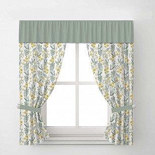 Комплект штор Arya Tulip, белый с зеленым, 170*200 см