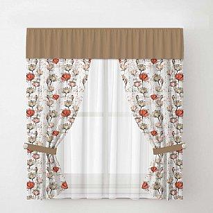 Комплект штор Arya Corn Poppy с тюлем, кремовый с коричневым