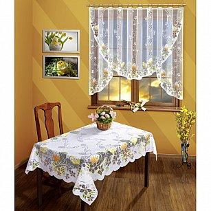 Скатерть №008В, белая, оранжевая, желтая