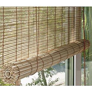 Бамбуковая рулонная штора, натур микс, 160 см