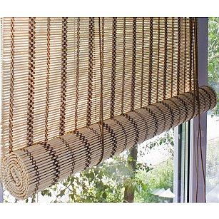 Бамбуковая рулонная штора, песок, 120 см