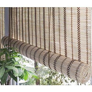 Бамбуковая рулонная штора, золотой беж