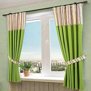 """Комплект штор """"Бертина"""", зеленый, 180*145 см"""