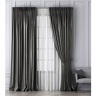Комплект штор Шанти, серый, 240*250 см-A