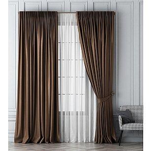 Комплект штор Шанти, коричневый