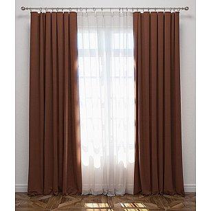 Комплект штор Блэкаут, коричневый