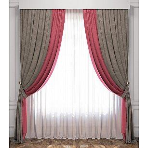 Комплект штор Латур, розово-серый