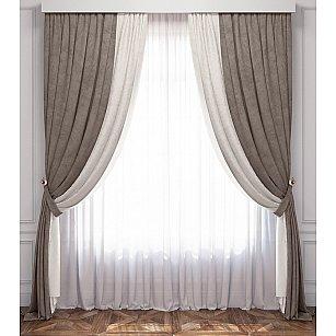 Комплект штор Латур, бело-серый