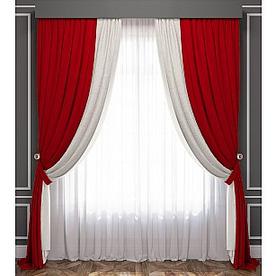 Комплект штор Латур, красно-белый