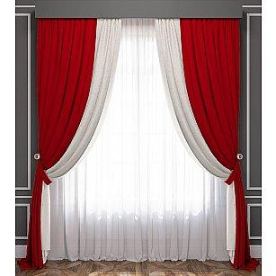Комплект штор Латур, красно-белый, 240*250 см-A
