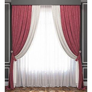 Комплект штор Латур, бело-розовый