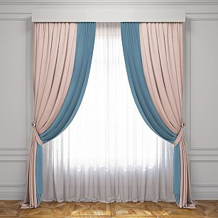 Комплект штор Латур, светло-розовый, голубой