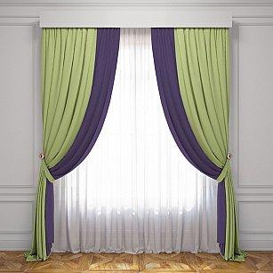 Комплект штор Латур, зеленый, баклажановый