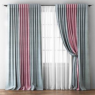 Комплект штор Кирстен, серый, розовый