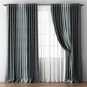 Комплект штор Кирстен, мокрый асфальт, серый