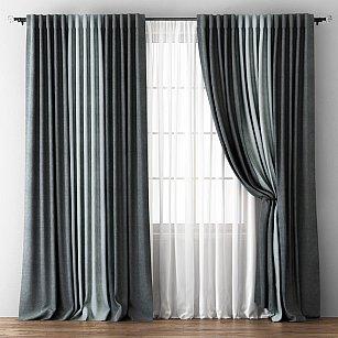 Комплект штор Кирстен, мокрый асфальт, серый, 240*250 см-A