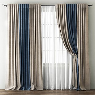 Комплект штор Кирстен, бежево-коричневый, синий