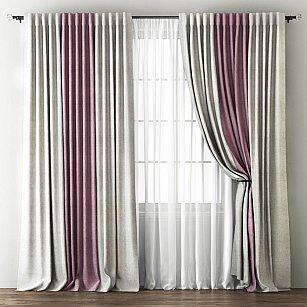 Комплект штор Кирстен, кремовый, розовый, 240*250 см-A