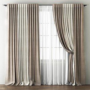 Комплект штор Кирстен, бежево-коричневый, кремовый, 240*250 см-A