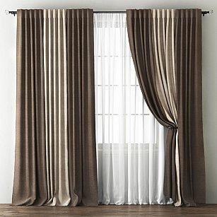 Комплект штор Кирстен, шоколадный, бежево-коричневый
