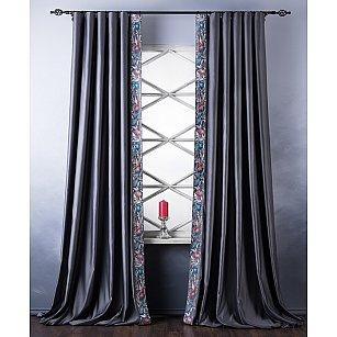 Комплект штор с вышивкой Шарлиз, серый, 200*280 см