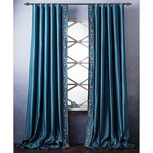 Комплект штор с вышивкой Шарлиз, бирюзовый, 200*280 см