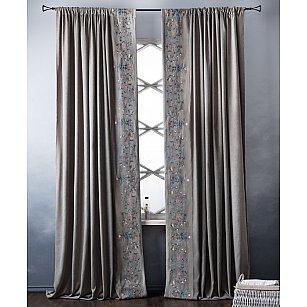 Комплект штор с вышивкой Лея, серый, 200*280 см