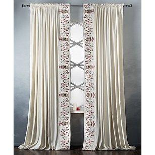 Комплект штор с вышивкой Лея, белый, 200*280 см