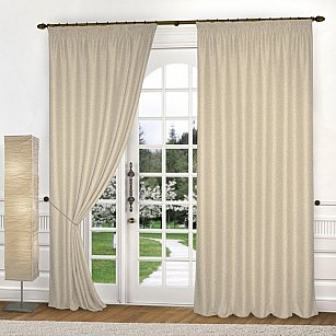 Комплект штор лен-рогожка K334-4, кремовый