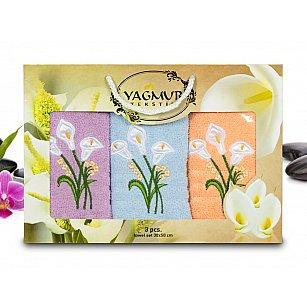 Комплект полотенец Yagmur Кала (30*50 - 3 шт), Голубой, Лиловый, Персиковый