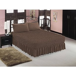 Чехол на кровать универсальный Caprise с наволочками, серо-коричневый