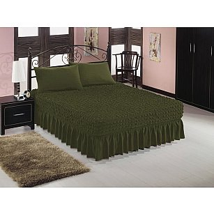 Чехол на кровать универсальный Caprise с наволочками, темная олива