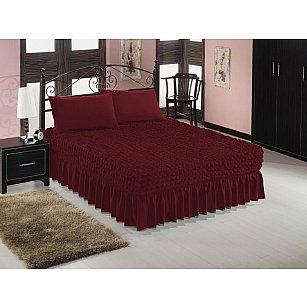 Чехол на кровать универсальный Caprise с наволочками, темно-бордовый