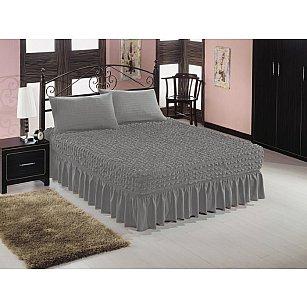 Чехол на кровать универсальный Caprise с наволочками, темно-серый