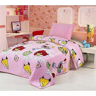 Покрывало детское Angry Birds, розовое, 155*200 см