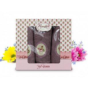 Комплект полотенец Floralice (50*90 - 2 шт; 70*140 - 1 шт), Сиреневый