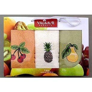 Комплект кухонных полотенец Yagmur Фрукты, 30*50 см - 3 шт, персиковый, белый, зеленый