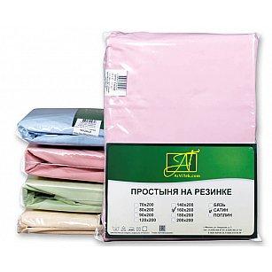 Простынь Сатин без резинки, розовый, 180*214 см