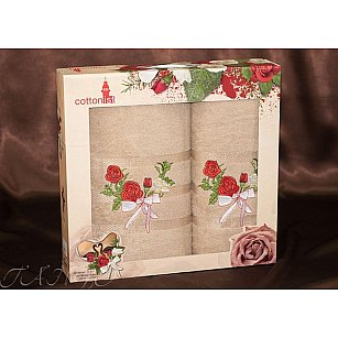 Комплект полотенец Cottonist Kurdele (Розе) в коробке (50*90; 70*140), бежевый