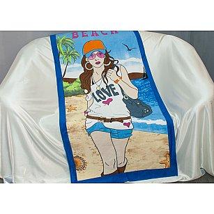 Пляжное полотенце Beach, 75*150 см, голубой, бежевый