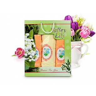Комплект полотенец Valley Lily (50*90 - 2 шт; 70*140 - 1 шт), Желтый, Оранжевый
