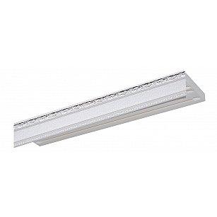 """Карниз потолочный пластиковый без поворота """"Гранд"""", 3 ряда, серебро"""